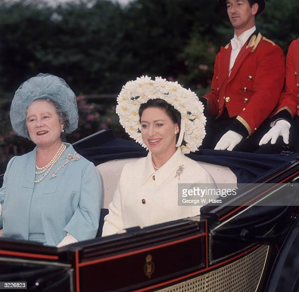 Princess Margaret and the Queen Mother arriving for the fourth day at Ascot