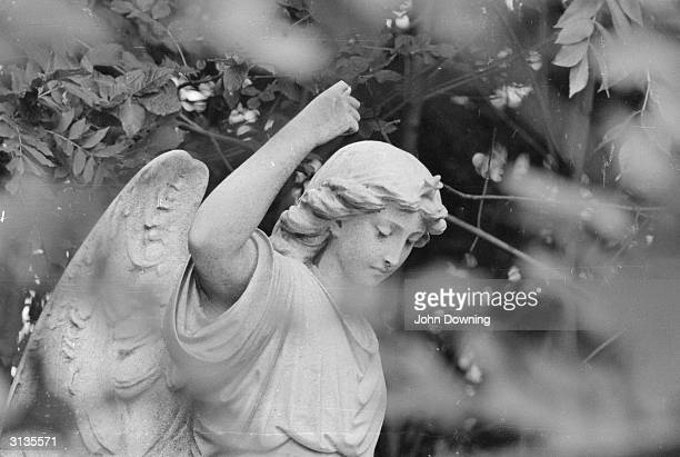 A stone angel guards a grave in Highgate Cemetery north London