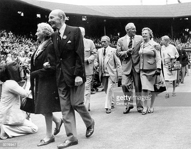 Some of the former Wimbledon winners parading on Centre Court during celebrations commemorating 100 years of Championship tennis at Wimbledon Amongst...
