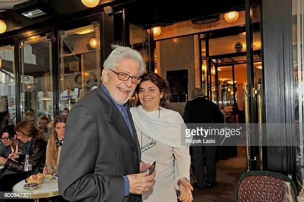 Italian film director Ettore Scola with his daughter Silvia Scola in front of the Flore cafe in the SaintGermain district of Paris France on 20th...