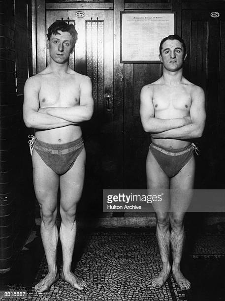 Backstroke swimmers J Slane and C Stephens of Great Britain at the Holborn Baths in London training for the 1912 Stockholm Olympics
