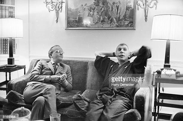 American author Truman Capote shares a sofa with film director Richard Brooks A year before Brooks had directed a screen adaptation of Capote's book...