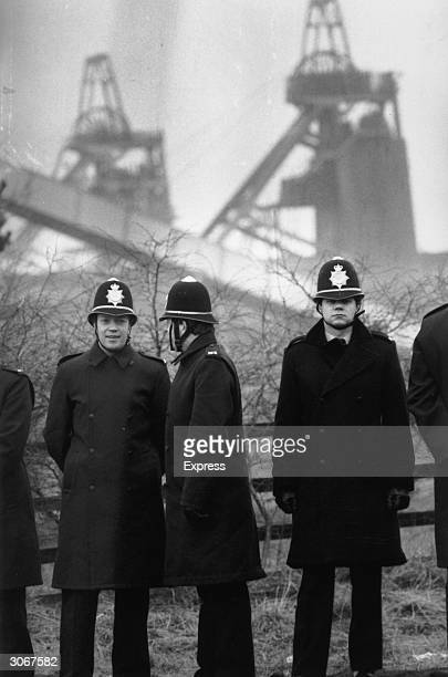 Policemen outside a pit during the miners strike