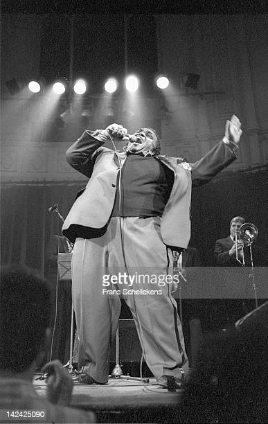 20th MARCH: American Soul singer Solomon Burke performs live on stage at Paradiso in Amsterdam, Netherlands on 20th March 1987.