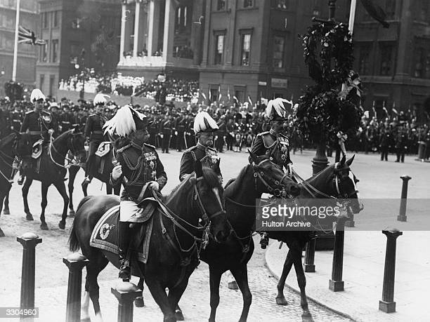 From left Horatio Herbert 1st Earl Kitchener of Khartoum Frederick Roberts Earl of Kandahar Pretoria and Waterford and Sir Evelyn Wood ride in the...