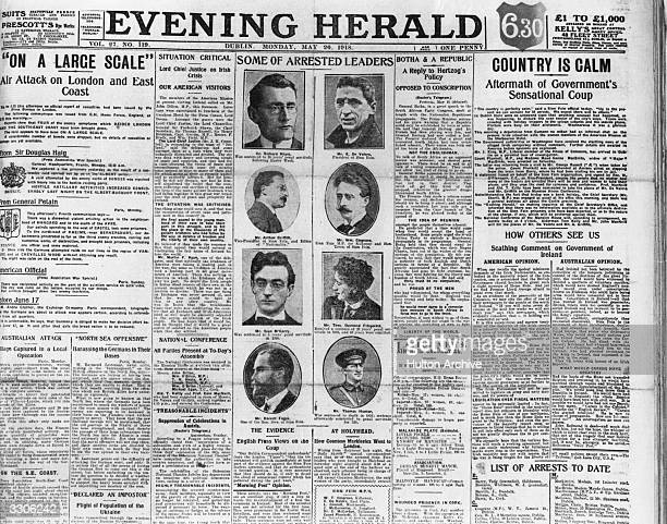 Report from the Dublin 'Evening Herald' newspaper on the arrest of Sinn Fein Leaders by the British Government. Evening Herald pub. 1918