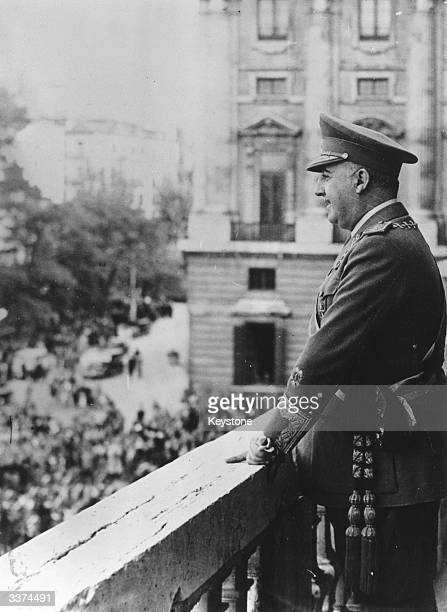 Francisco Franco Spanish general and dictator who governed Spain from 1939 to 1975 from the Royal Palace in Madrid making a speech after the opening...