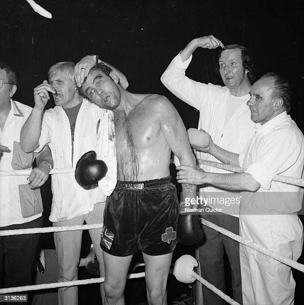English light-heavyweight boxer Chris Finnegan in his corner during a fight against John Conteh.