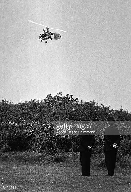 Police using a Wallis autogiro to search for the missing Lord Lucan