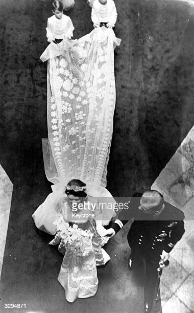 Princess Elizabeth and The Prince Philip Duke of Edinburgh leaving Westminster Abbey after their wedding ceremony