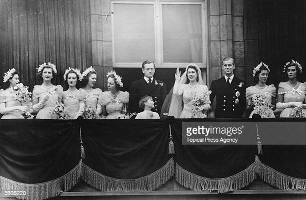 The royal group on the balcony of Buckingham Palace after returning from the wedding ceremony between Princess Elizabeth and the Duke of Edinburgh at...