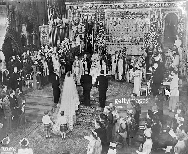 The wedding of Princess Elizabeth and Prince Philip at Westminster Abbey London