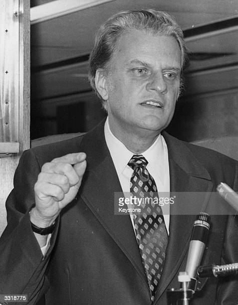 American Evangelist Dr Billy Graham during a Press Conference he held at Bush House Restaurant Aldwych London