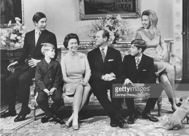Queen Elizabeth II and the Duke of Edinburgh with their children Charles Prince of Wales Prince Edward Prince Andrew Princess Anne celebrating their...