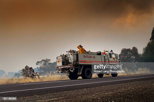 20th November 2012, Coomunga, Eyre Peninsula: A Country Fire Service truck from the Butler Tanks district pitches in an equal share in the fire...