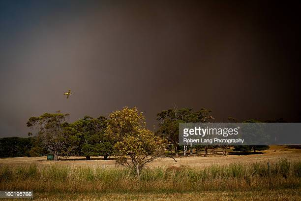 20th November 2012, Eyre Peninsula - South Australia: With visibility at an all time low a fixed winged country fire service water bombing plane...