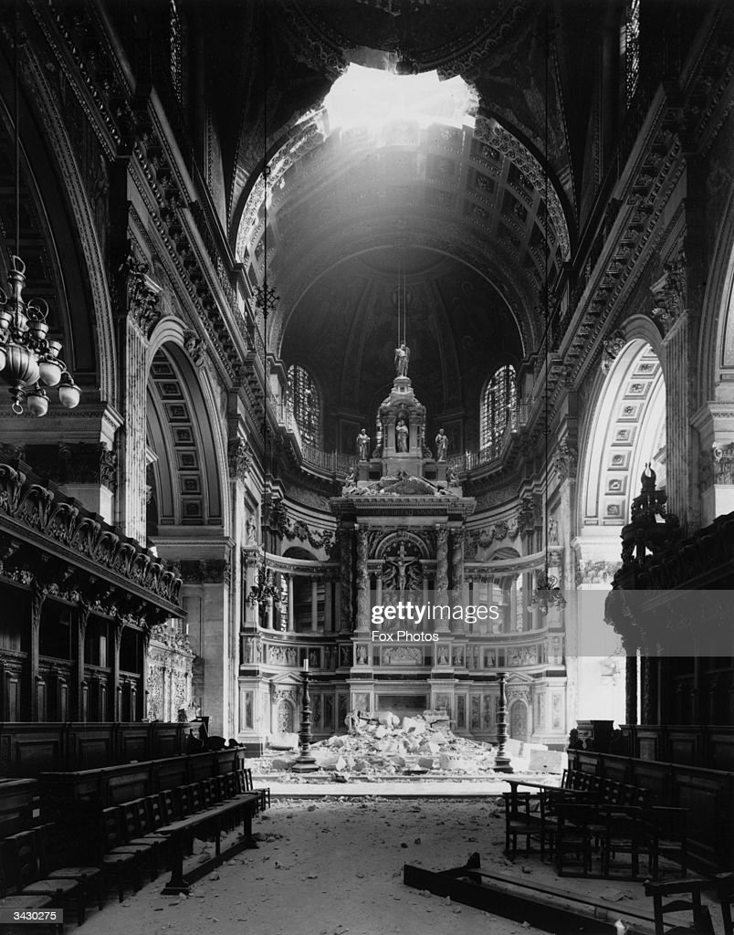 St Paul S Cathedral After A Direct Hit During The Blitz In