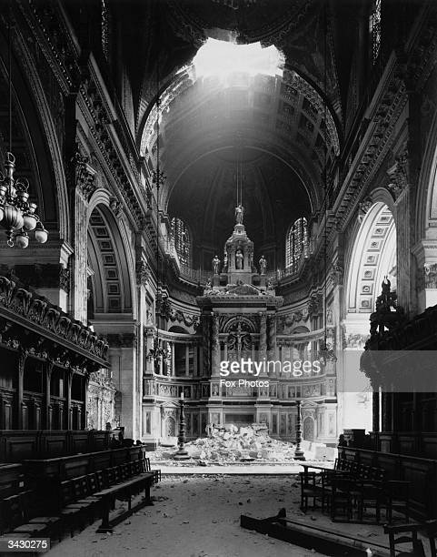 St Paul's Cathedral after a direct hit during the blitz in London