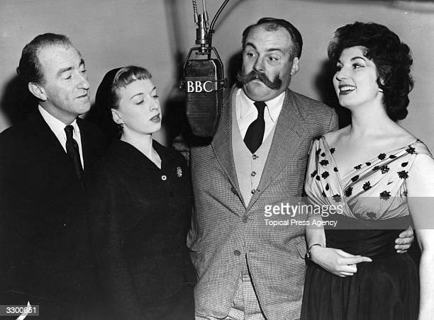 Cast members of BBC programme 'Take It From Here' during a recording session From left to right Dick Bentley June Whitfield Jimmy Edwards and singer...