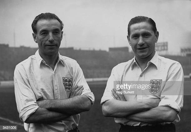 English footballers Stanley Matthews and Stanley Mortensen during a training session at Stamford Bridge London before a game against a 'rest of the...