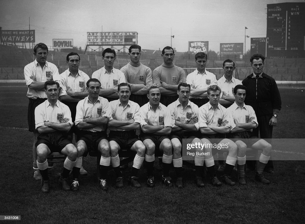 Members of the England Squad who are to play a 'rest of the world' team, (back row, from left) Ray Barlow, Alf Ramsey, Derek Ufton, Ted Ditchburn, Gil Merrick, Bill Dickinson, Bill Eckersley, Jimmy Trotter (trainer), (front row, from left) Jimmy Mullen, Stanley Matthews, Stan Mortensen, Nat Lofthouse, Albert Quixall and Ron Allen.