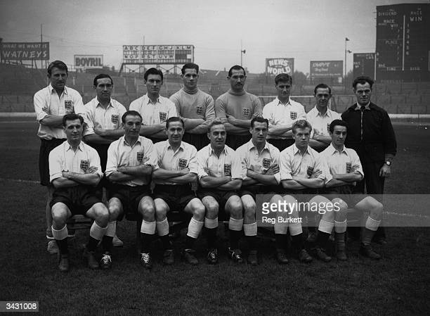 Members of the England Squad who are to play a 'rest of the world' team Ray Barlow Alf Ramsey Derek Ufton Ted Ditchburn Gil Merrick Bill Dickinson...