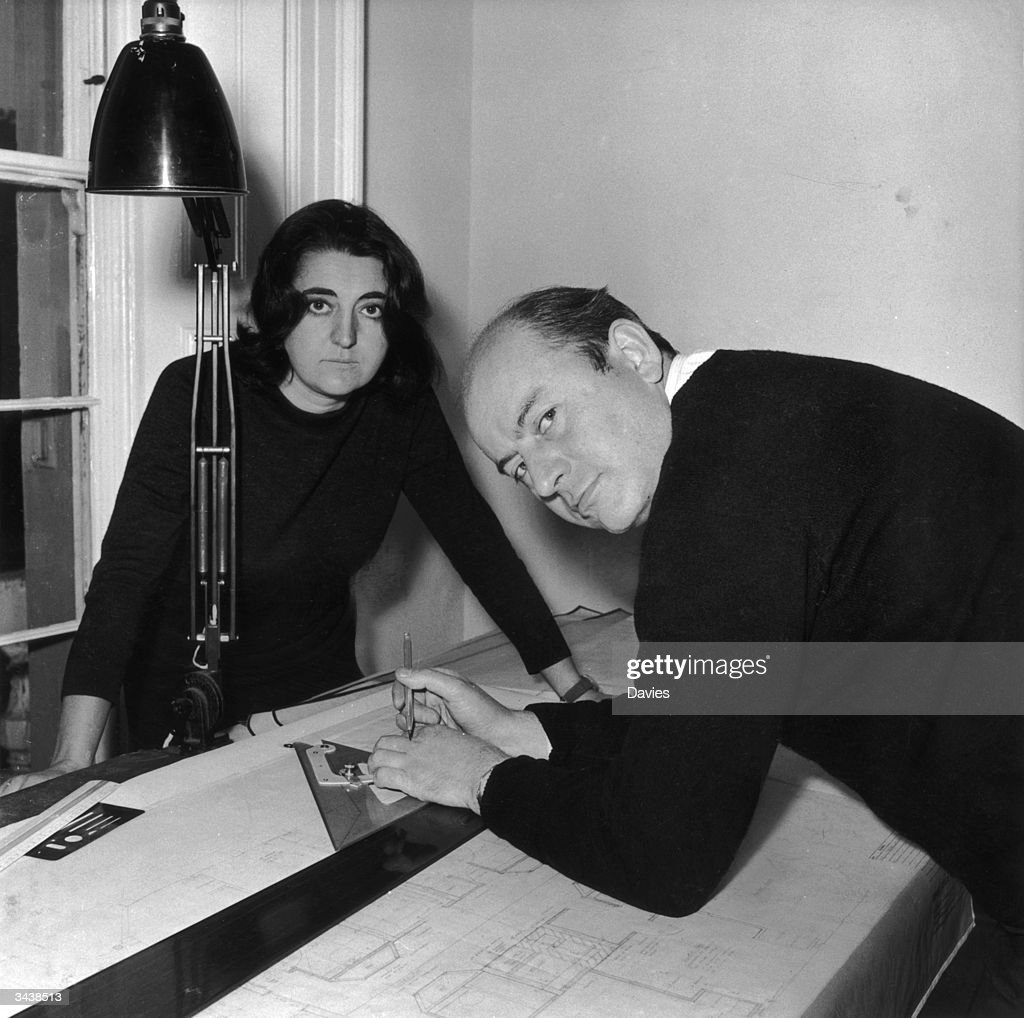 Married architects Peter and Alison Smithson at work.