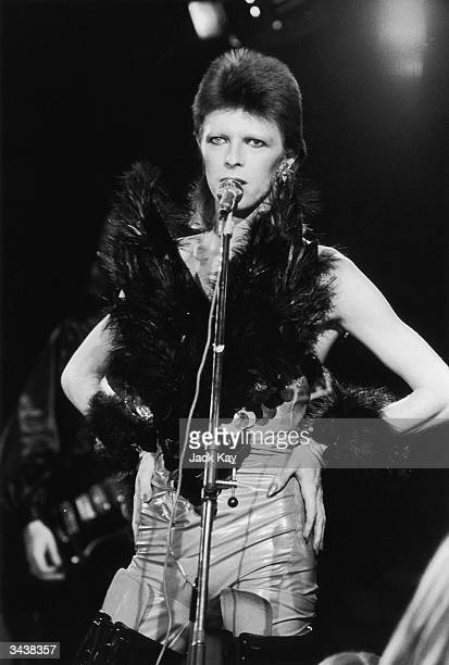 David Bowie performing in his 'Angel of Death' costume at a live recording for a Midnight Special TV show made at The Marquee Club in London to a...