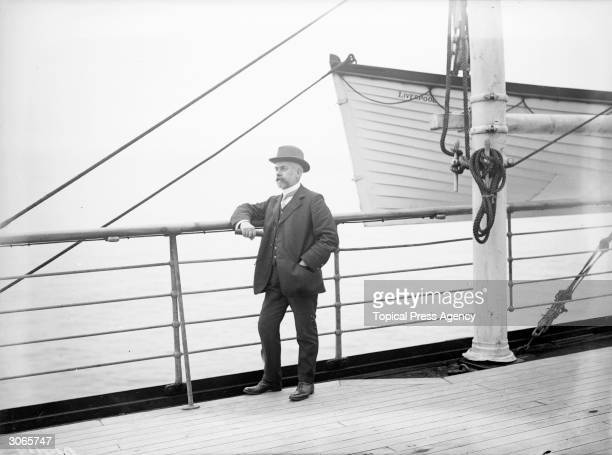 Passenger on board the Cunard liner SS Mauretania during a return voyage from Queenstown, New Zealand to Fishguard in Pembroke.