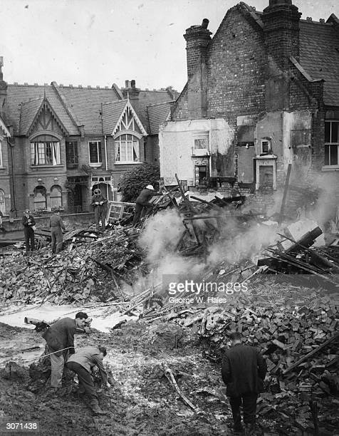 The ruin of a house in South West London after a German bomber crashed into it