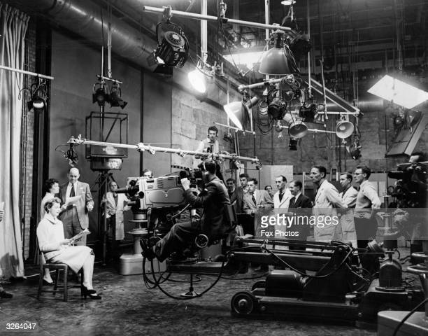 Shirley Butler a station anchorwoman for the Independent Commercial Television Network rehearses her announcement in preparation for the opening...