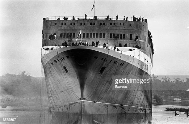 The Cunard liner 'Queen Elizabeth II' following its launch at Clydebank in Scotland The 'QE2' was built at the Upper Clyde shipbuilding yard and...
