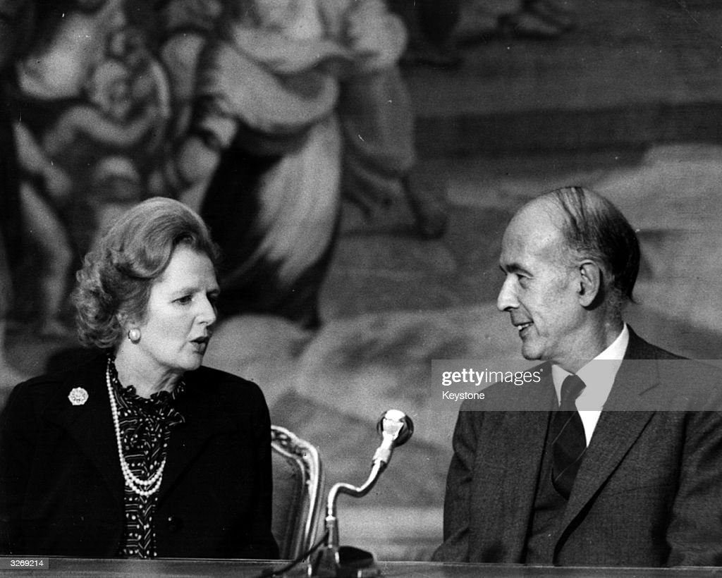 British Conservative Prime Minister, Margaret Thatcher, with French President Valery Giscard d'Estaing at a press conference.