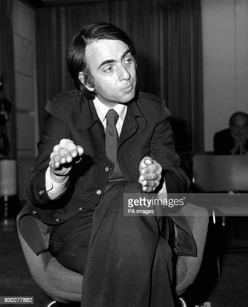 Space expert Professor Carl Sagan of Cornell University in USA speaking at a Press Conference at London's Heathrow Airport Commenting on America's...