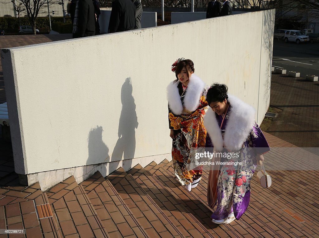 20-year-old Japanese women dressed in traditional clothes attend the Coming of Age Day ceremony at Cultural Hall on January 13, 2014 in Himeji, Japan. The Coming of Age Day is a Japanese holiday to congratulate and encourage young people who have reached the age 20 as maturity in Japan, when they are legally permitted to smoke, drink alcohol and vote.
