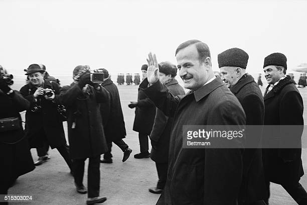 2/1/1971Moscow USSR Syria's Premier and Defense Minister Lt General Hafez Assad waves after he was welcomed on arrival in Moscow by Soviet Premier...