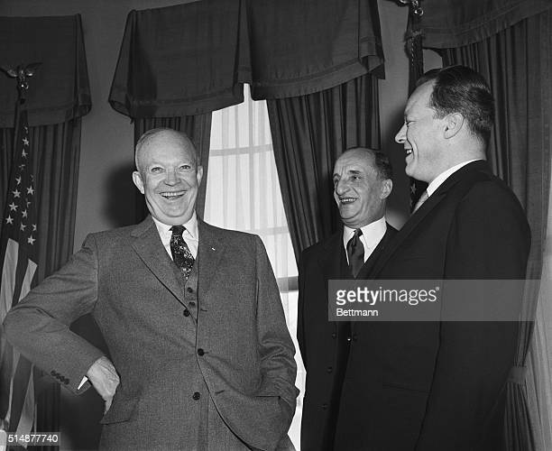 Washington, DC: President Eisenhower, left, and his guests, Willy Brandt, right, Mayor of West Berlin, and Albrecht Von Kessel, Charge D'Affaires Ad...