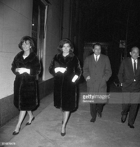 2/12/1964New York NY Wearing similar coats Mrs Jacqueline Kennedy and her sister Princess Radziwill walk near Hotel Carlyle with unidentified Secret...