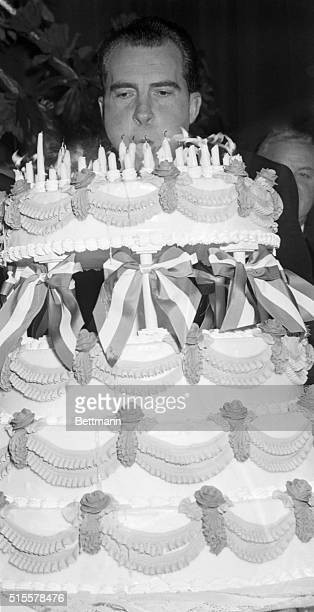 2/13/1956New York NY US Vice President Richard M Nixon guest speaker at the 70th Annual Lincoln Day Dinner of the National Republican Club at the...