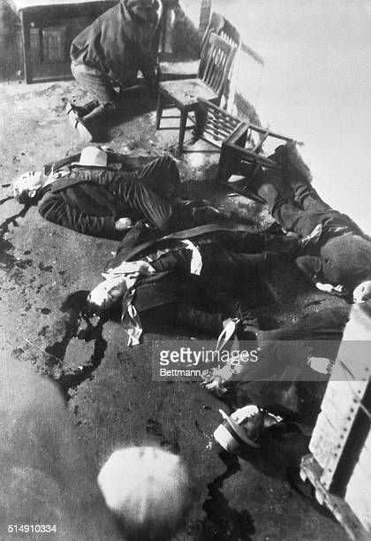 2/14/1929Chicago ILSix of the racketeering who were executed by a rival gang lying in pools of their own blood after the latest outbreak in Gangdom...