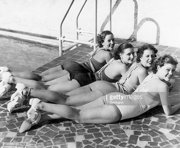 2/14/1934Miami Beach FL Miami Beach the winter refuge of bathing beauties reports a bumper crop of attractive visitors and offers this picture to...