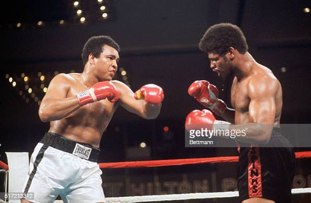 Las Vegas, NV: Muhammad Ali and Leon Spinks during ring action at the Las Vegas Hilton Pavilion. Spinks scored one of boxing's greatest upsets when...