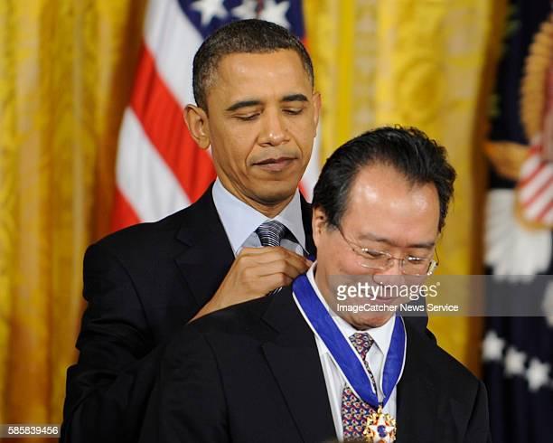 The White House Washington DC President Barack Obama presents the Presidential Medal of Freedom to Cellist YoYo Ma photo Christy Bowe ImageCatcher...