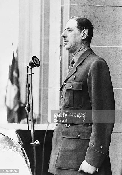 2/15/1945Paris FranceGeneral Charles de Gaulle addressing the people of the Aubervillers district of Paris from the balcony of the town hall He spoke...