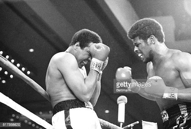 Las Vegas, NV- Heavyweight champion Muhammad Ali grimaces as challenger Leon Spinks gets in a stinging right cross to the jaw in the 3rd round of...