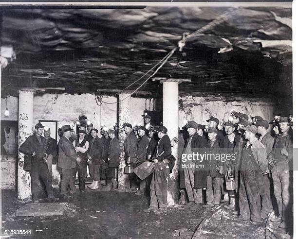 2/18/1926PennsylvaniaHere are miners reporting to the Fire Boss at the bottom of the shaft of the old Bellevue Mine one of the oldest anthracite...