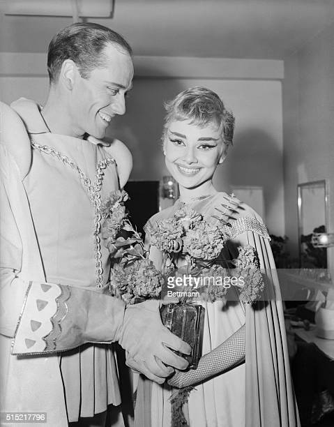 2/18/1954New York NY Audrey Hepburn is shown with a bouquet of flowers after the premiere of Ondine at the 46th Street Theater The flowers were given...