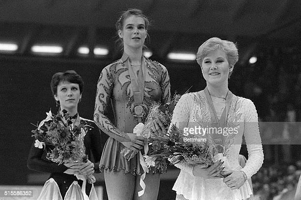 Sarajevo, Yugoslavia- Katarina Witt of East Germany , Rosalynn Sumners of the U.S.A. And Kira Ivanova of the U.S.S.R. Stand on the podium after...