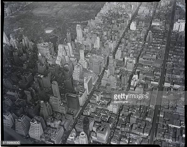 Aerial view of Manhattan New York with south east corner of Central Park