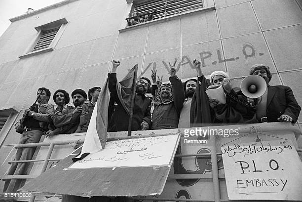 Tehran, Iran- Palestinian leader Yasser Arafat together with Iranian Deputy Premier Ibrahim Yazdi and Seyed Ahmed Khomeini , the son of Ayatollah...